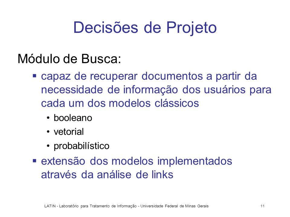 Decisões de Projeto Módulo de Busca: