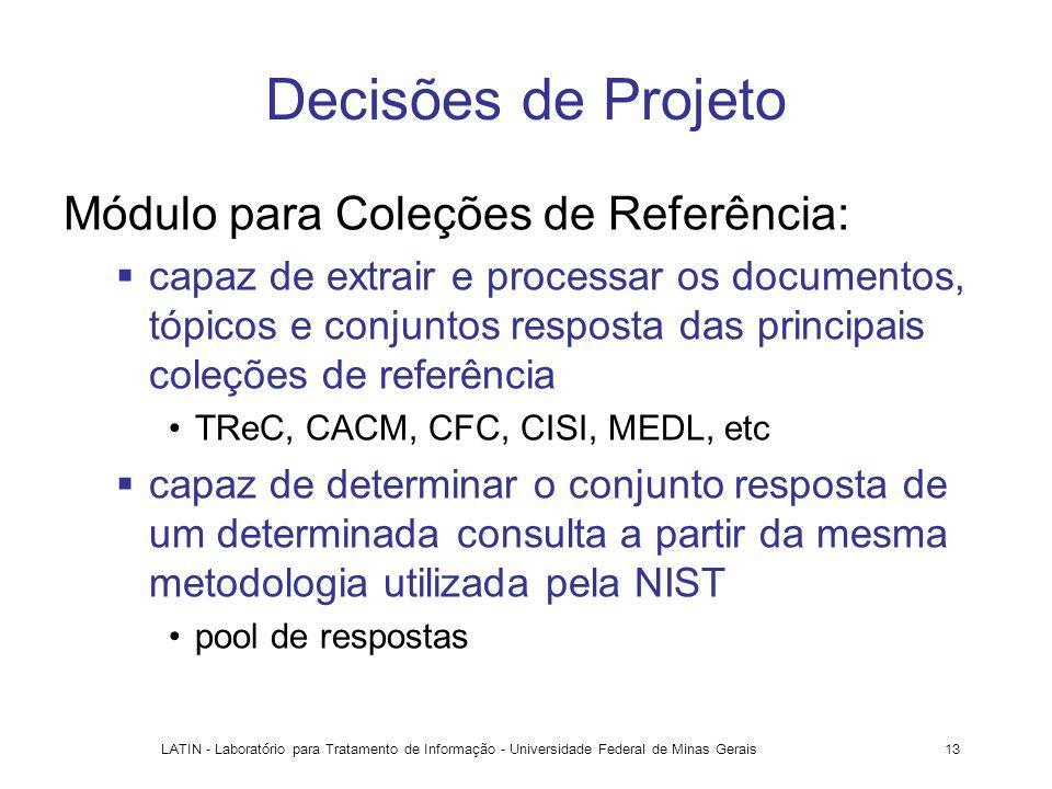 Decisões de Projeto Módulo para Coleções de Referência: