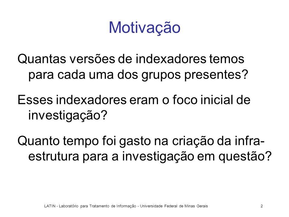 Motivação Quantas versões de indexadores temos para cada uma dos grupos presentes Esses indexadores eram o foco inicial de investigação