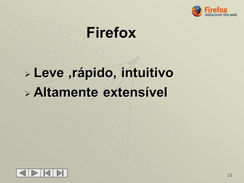 Firefox Leve ,rápido, intuitivo Altamente extensível