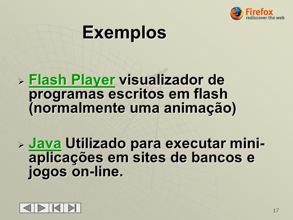 Exemplos Flash Player visualizador de programas escritos em flash (normalmente uma animação)