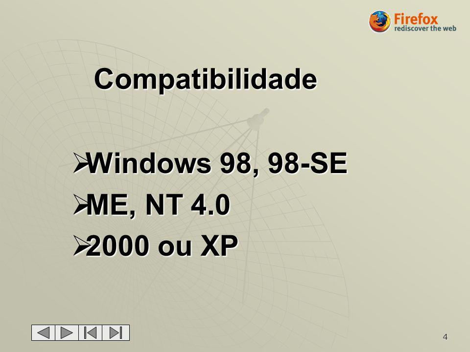 Compatibilidade Windows 98, 98-SE ME, NT 4.0 2000 ou XP