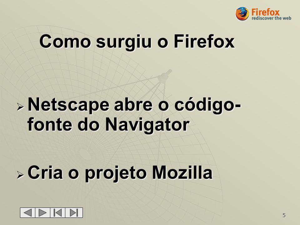 Como surgiu o Firefox Netscape abre o código-fonte do Navigator Cria o projeto Mozilla
