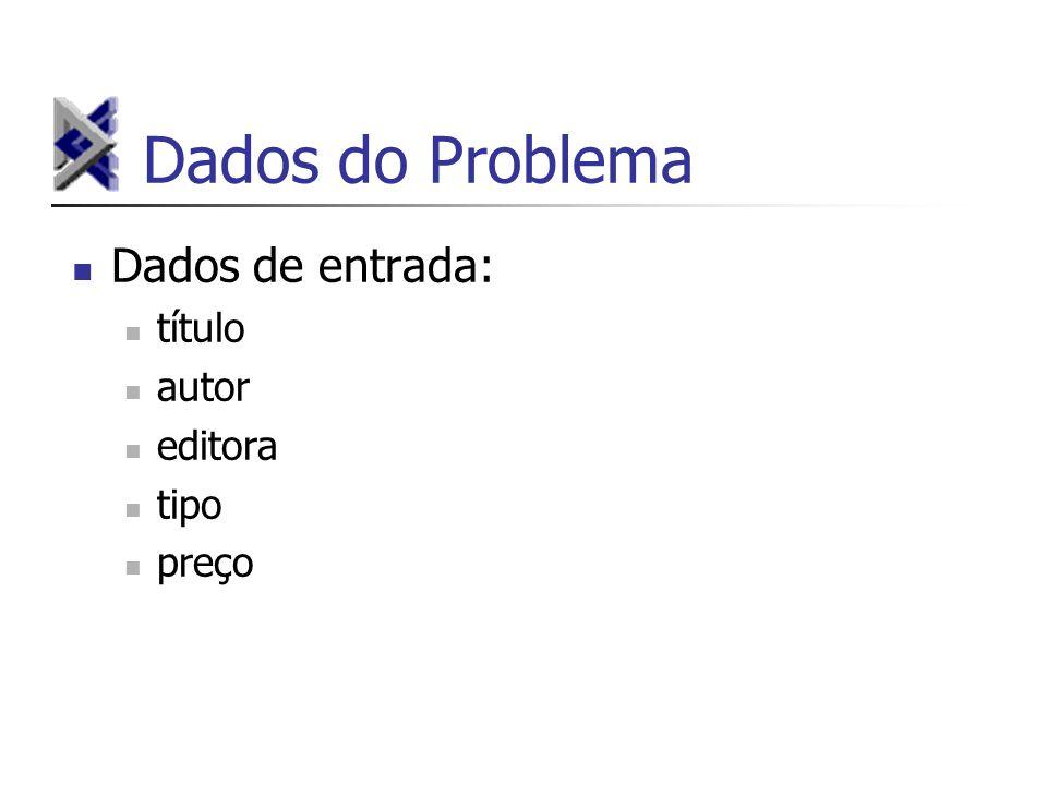 Dados do Problema Dados de entrada: título autor editora tipo preço