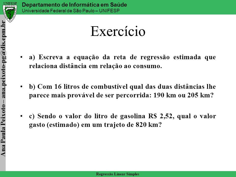 Exercício a) Escreva a equação da reta de regressão estimada que relaciona distância em relação ao consumo.