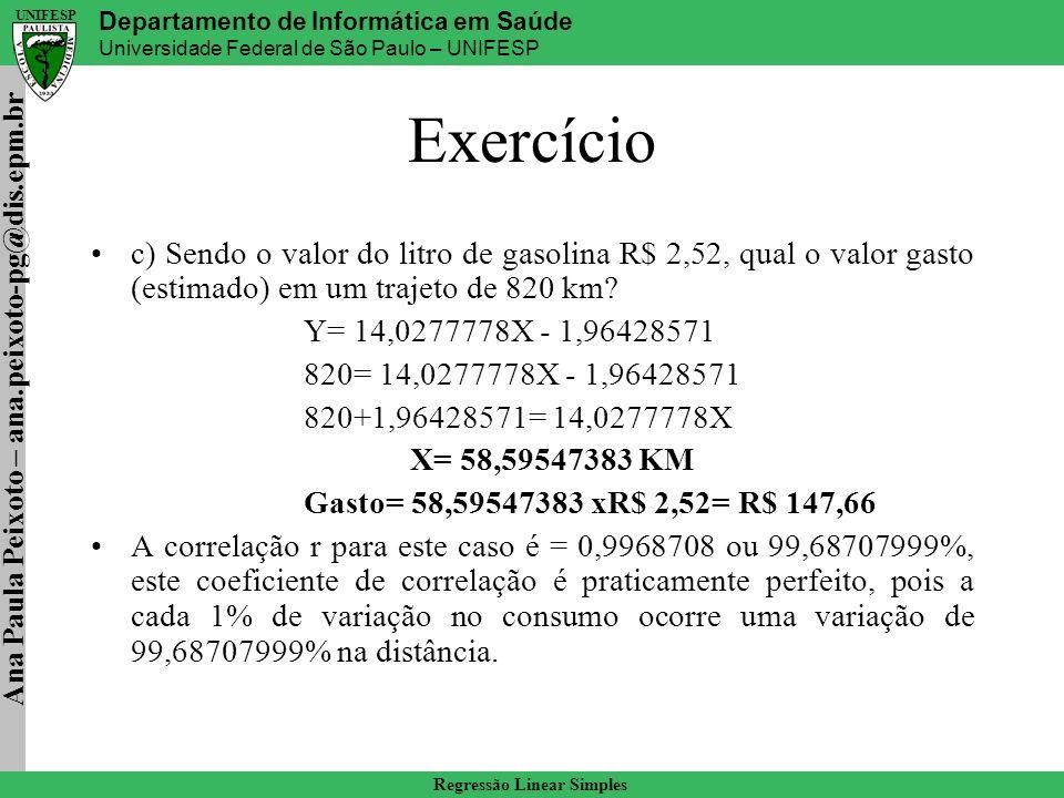 Exercício c) Sendo o valor do litro de gasolina R$ 2,52, qual o valor gasto (estimado) em um trajeto de 820 km