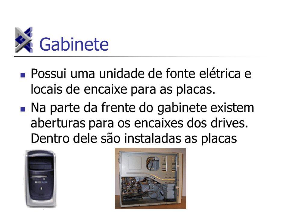 Gabinete Possui uma unidade de fonte elétrica e locais de encaixe para as placas.