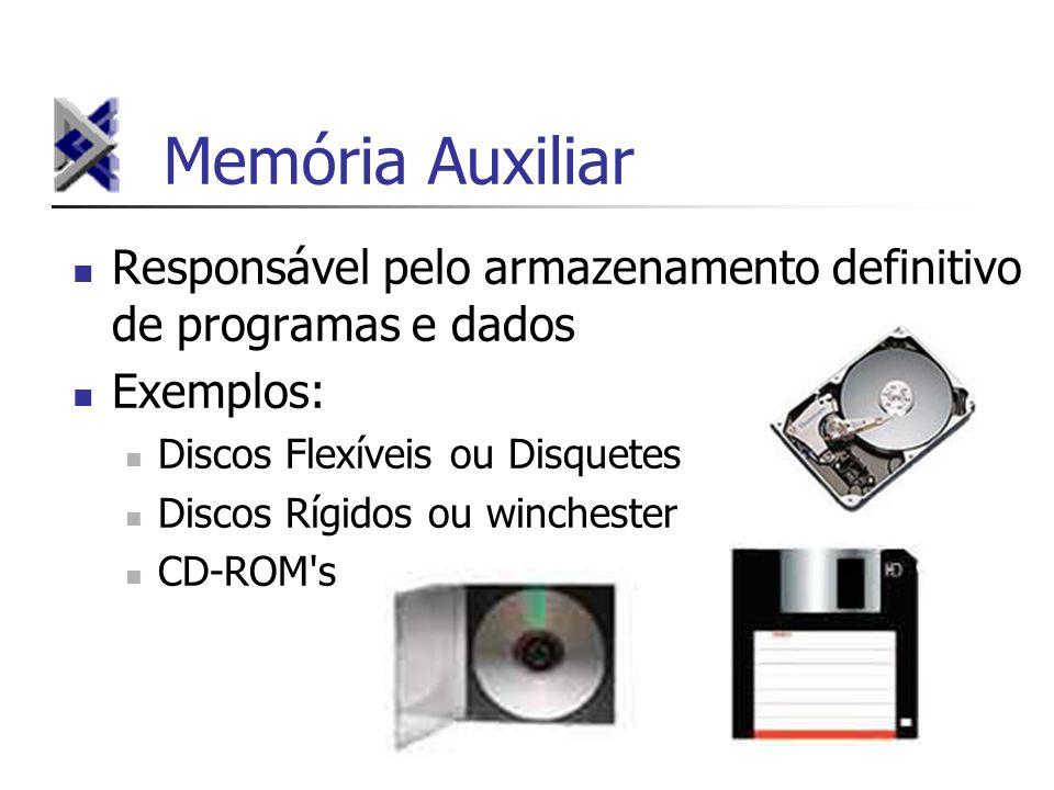 Memória Auxiliar Responsável pelo armazenamento definitivo de programas e dados. Exemplos: Discos Flexíveis ou Disquetes.