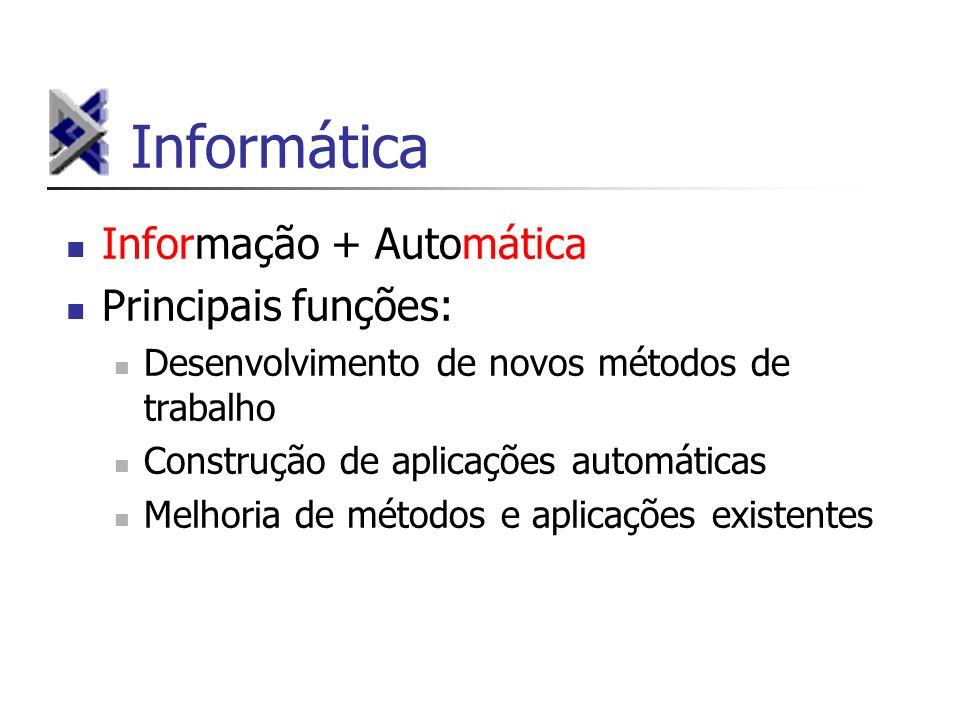 Informática Informação + Automática Principais funções: