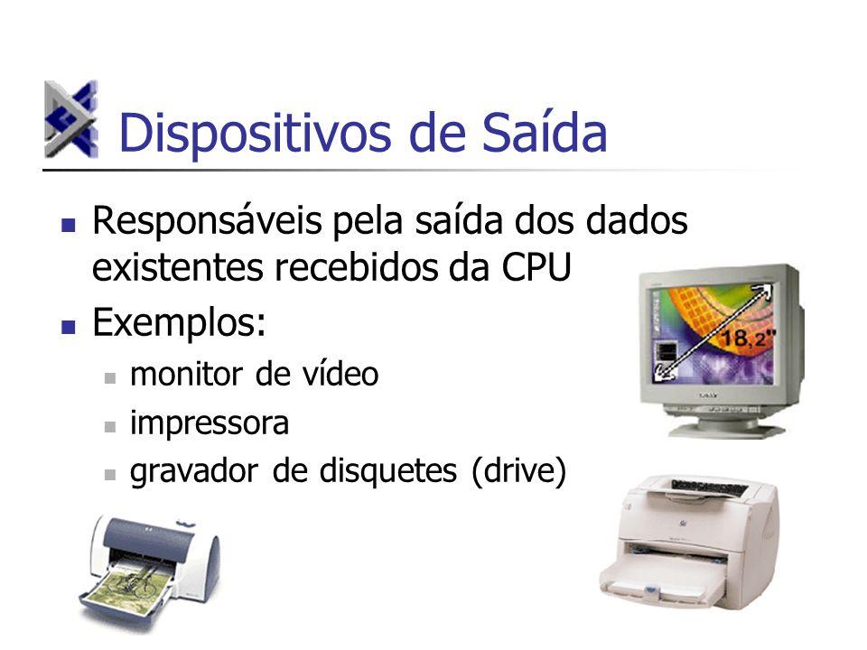 Dispositivos de Saída Responsáveis pela saída dos dados existentes recebidos da CPU. Exemplos: monitor de vídeo.