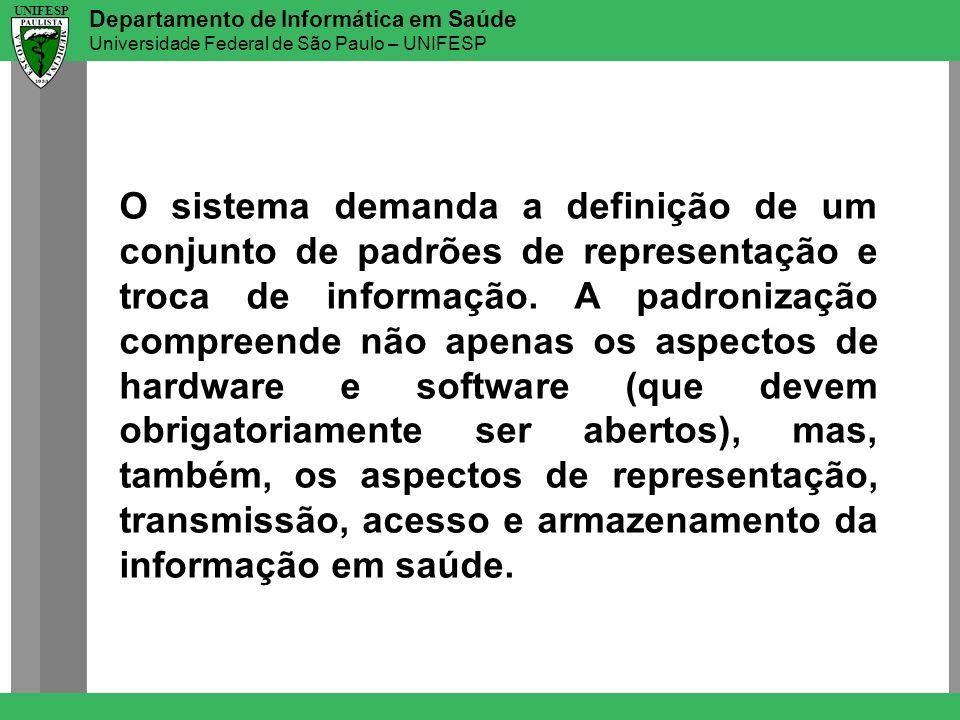 O sistema demanda a definição de um conjunto de padrões de representação e troca de informação.