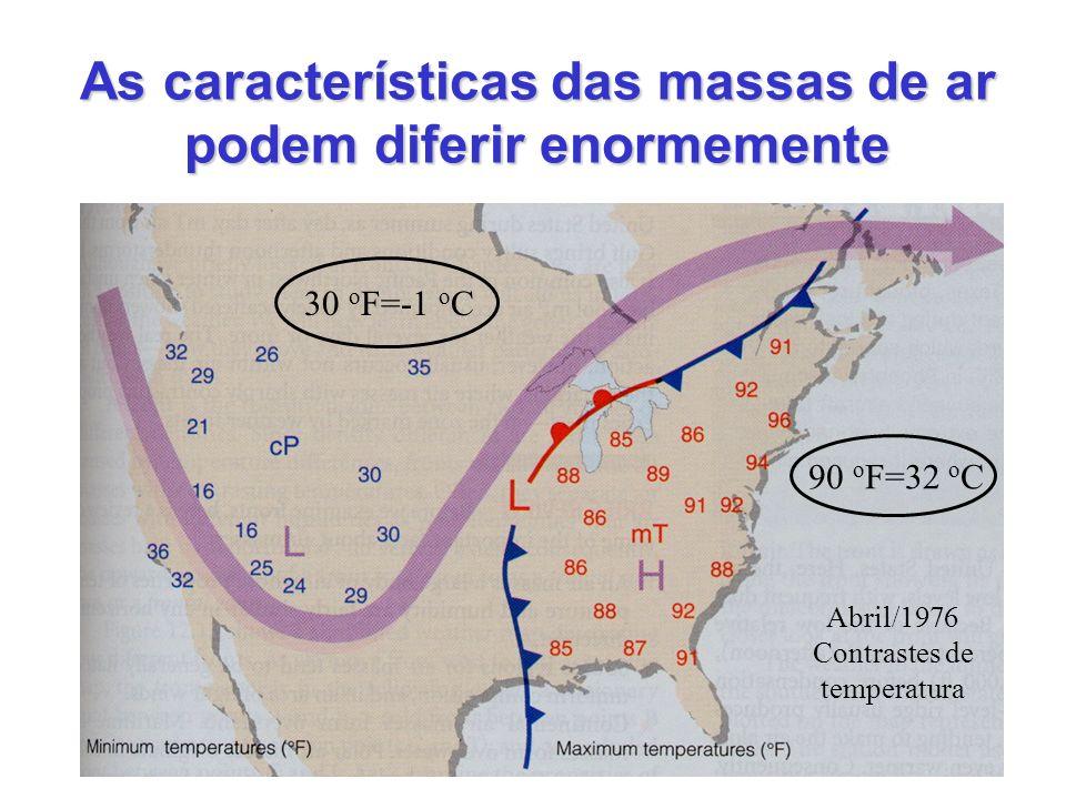As características das massas de ar podem diferir enormemente