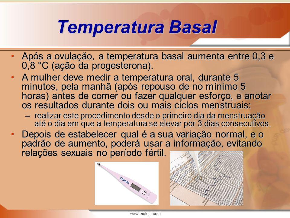 Temperatura Basal Após a ovulação, a temperatura basal aumenta entre 0,3 e 0,8 °C (ação da progesterona).