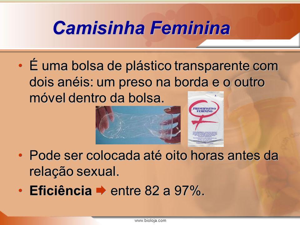 Camisinha Feminina É uma bolsa de plástico transparente com dois anéis: um preso na borda e o outro móvel dentro da bolsa.