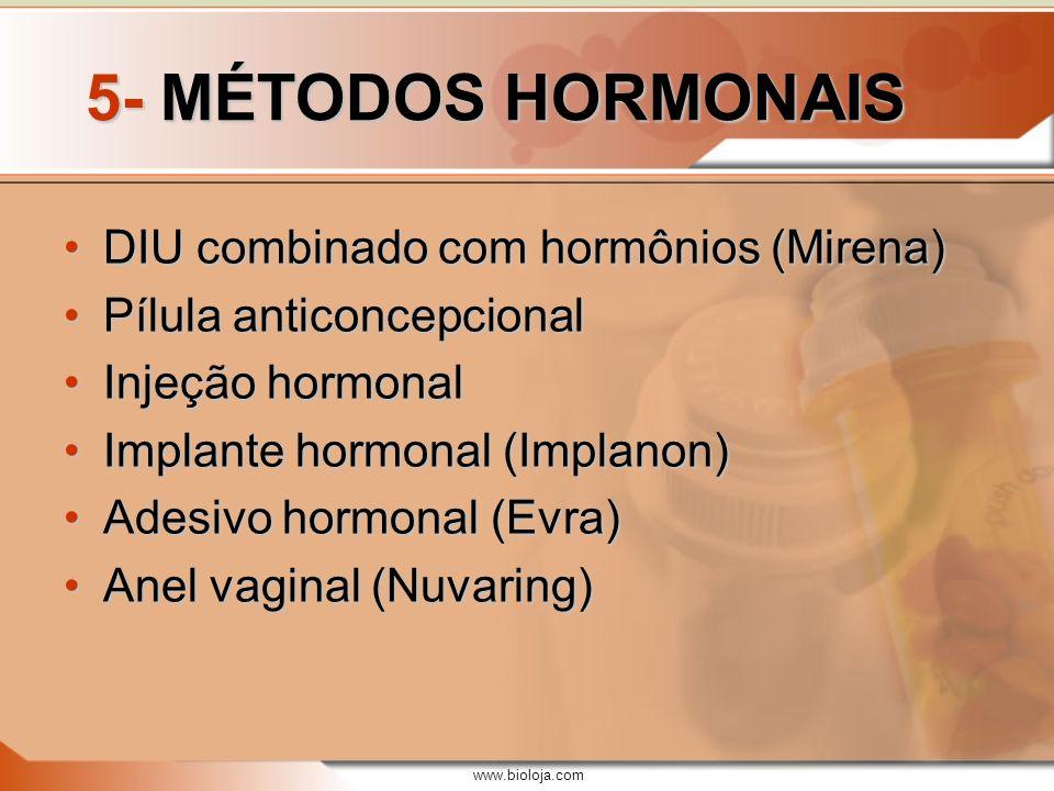 5- MÉTODOS HORMONAIS DIU combinado com hormônios (Mirena)