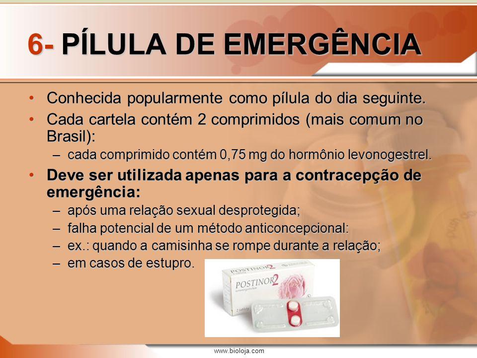 6- PÍLULA DE EMERGÊNCIA Conhecida popularmente como pílula do dia seguinte. Cada cartela contém 2 comprimidos (mais comum no Brasil):