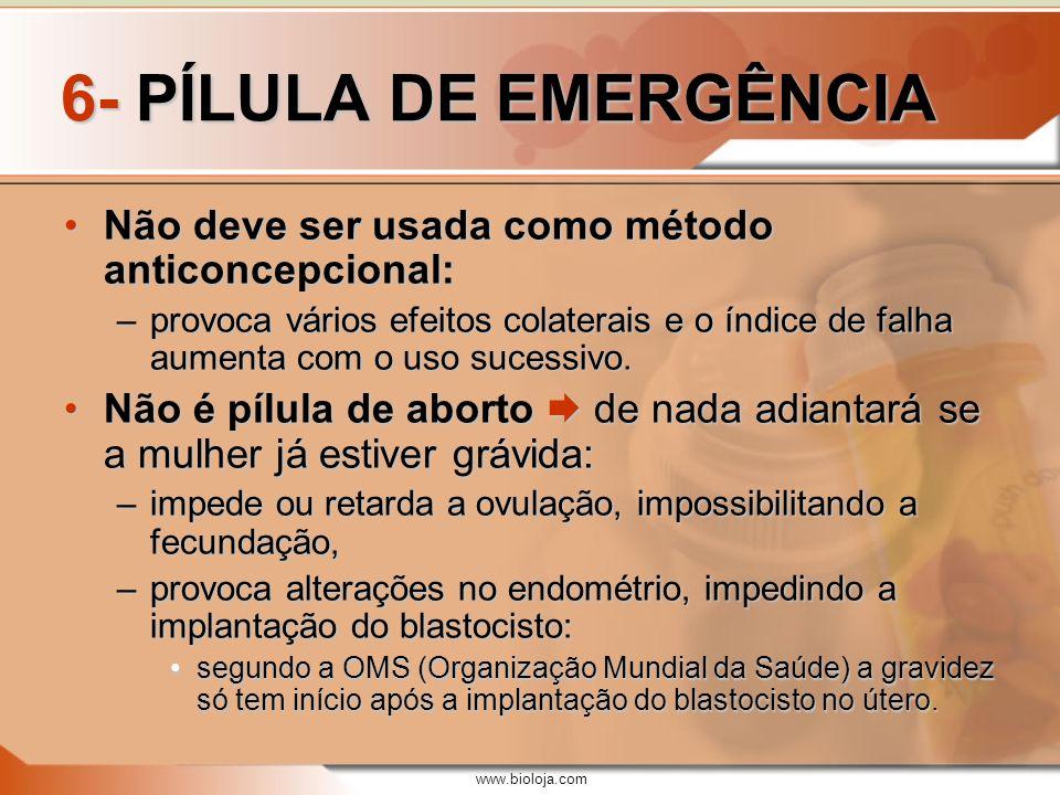 6- PÍLULA DE EMERGÊNCIA Não deve ser usada como método anticoncepcional: