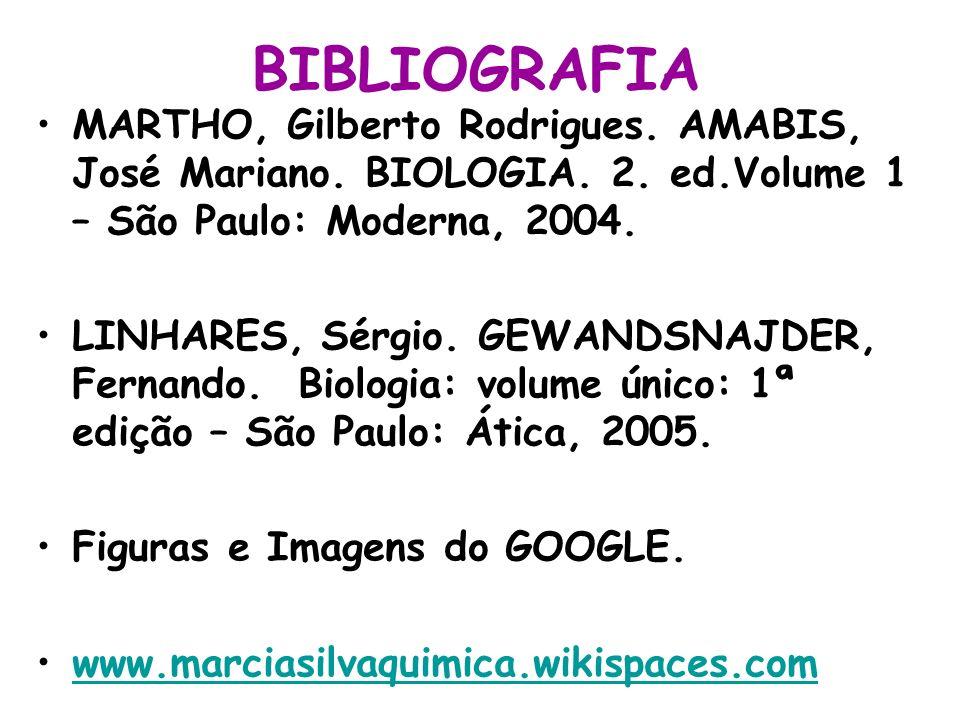 BIBLIOGRAFIA MARTHO, Gilberto Rodrigues. AMABIS, José Mariano. BIOLOGIA. 2. ed.Volume 1 – São Paulo: Moderna, 2004.