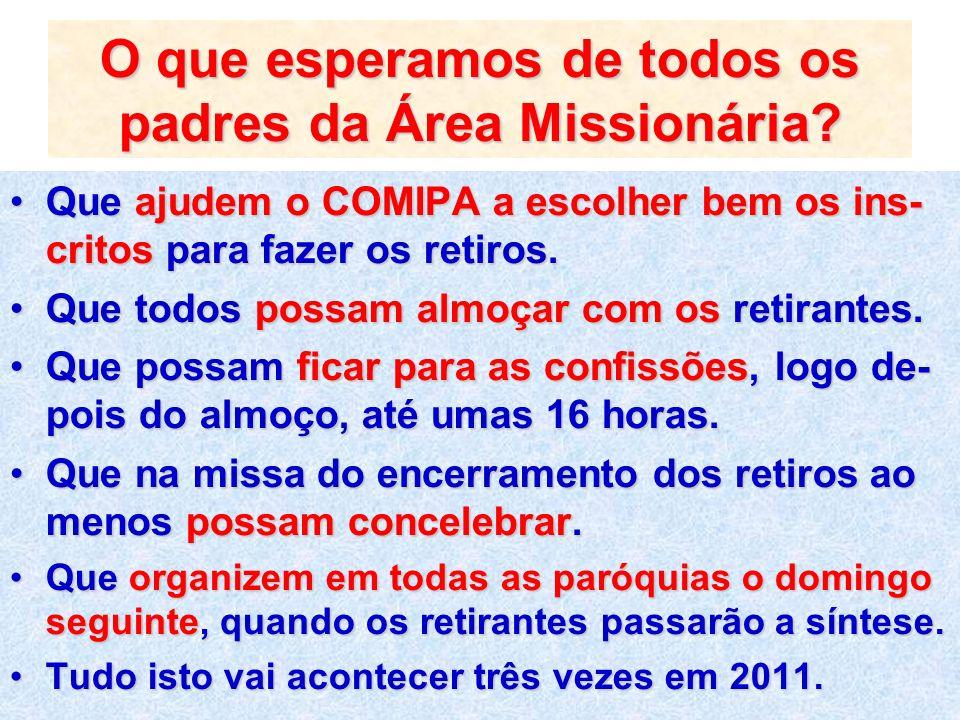 O que esperamos de todos os padres da Área Missionária