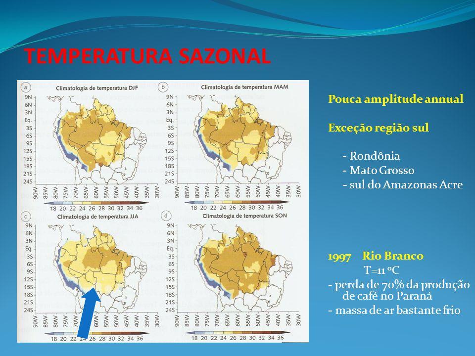 TEMPERATURA SAZONAL Pouca amplitude annual Exceção região sul