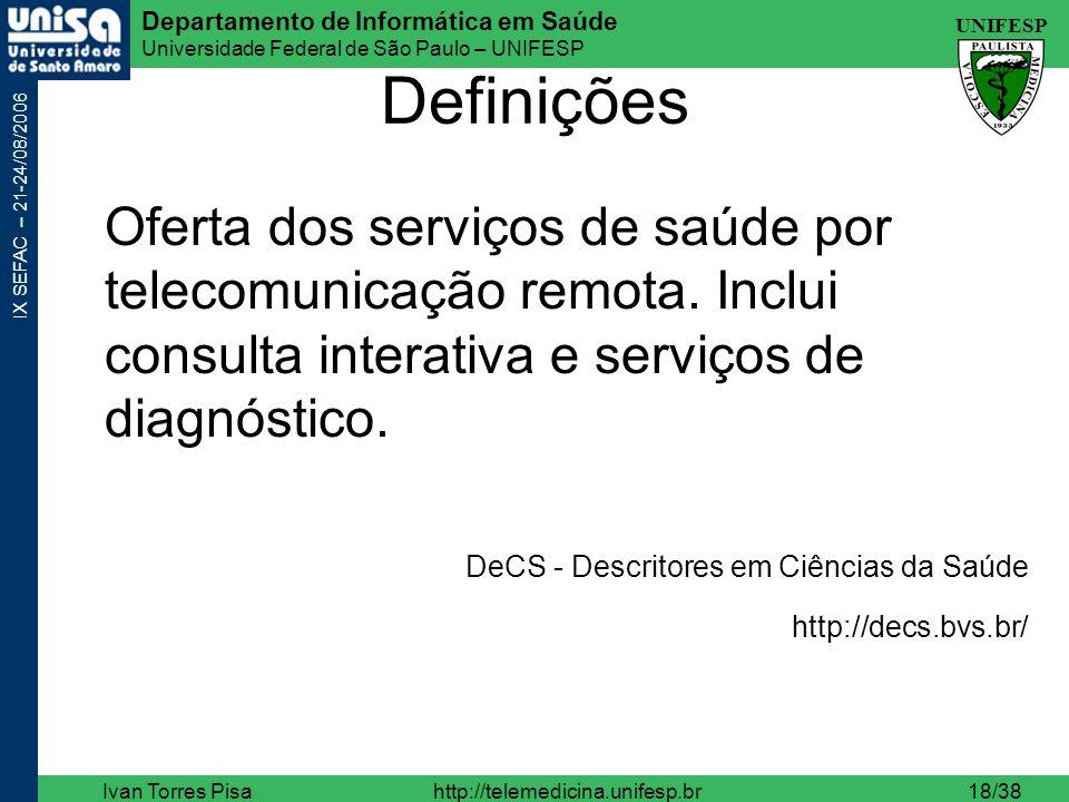 Definições Oferta dos serviços de saúde por telecomunicação remota. Inclui consulta interativa e serviços de diagnóstico.