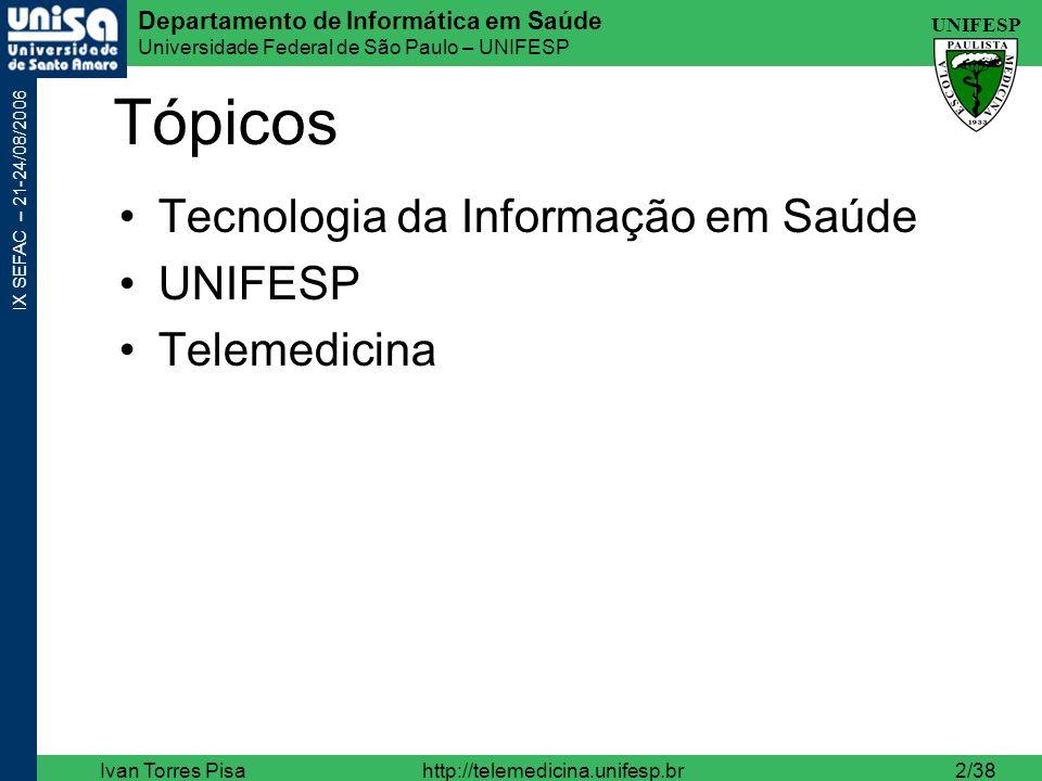Tópicos Tecnologia da Informação em Saúde UNIFESP Telemedicina