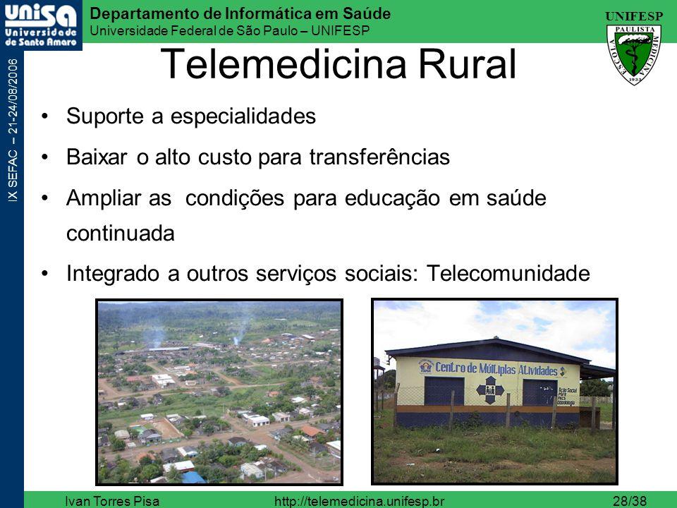 Telemedicina Rural Suporte a especialidades