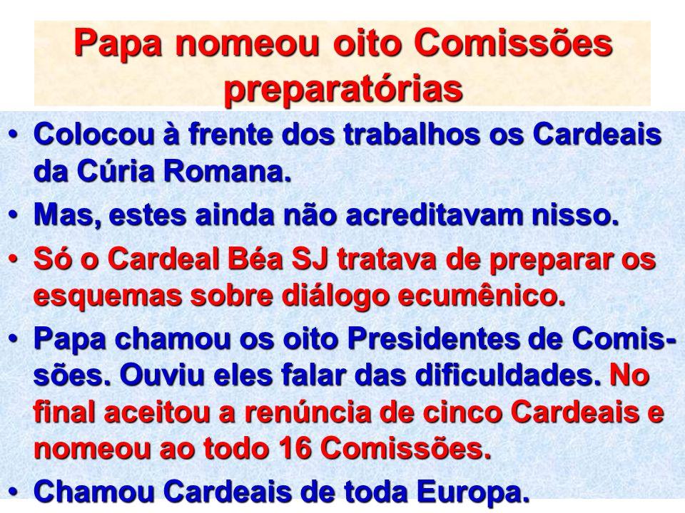 Papa nomeou oito Comissões preparatórias