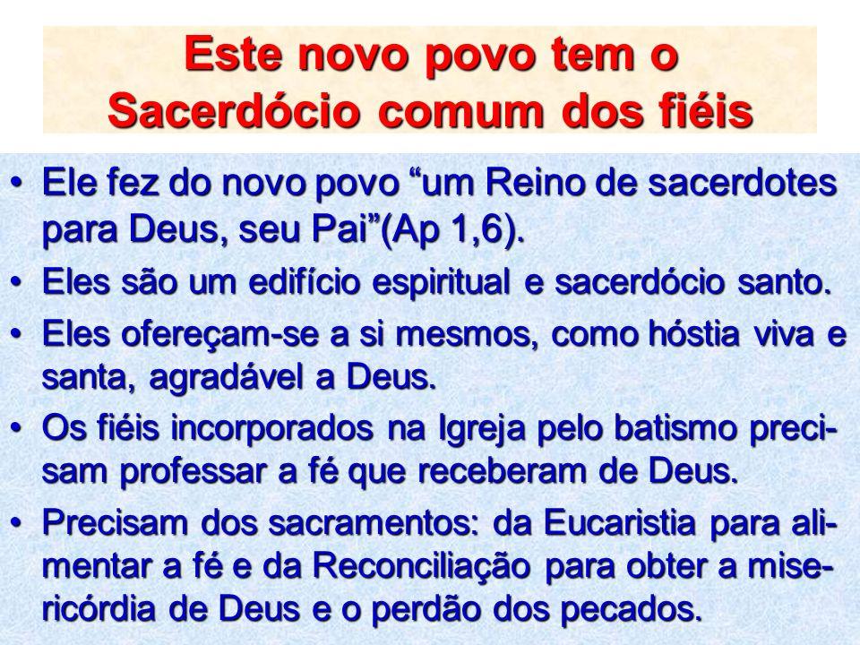 Este novo povo tem o Sacerdócio comum dos fiéis
