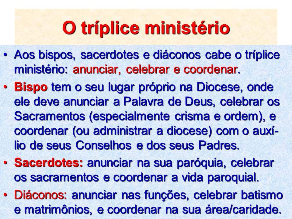 O tríplice ministérioAos bispos, sacerdotes e diáconos cabe o tríplice ministério: anunciar, celebrar e coordenar.