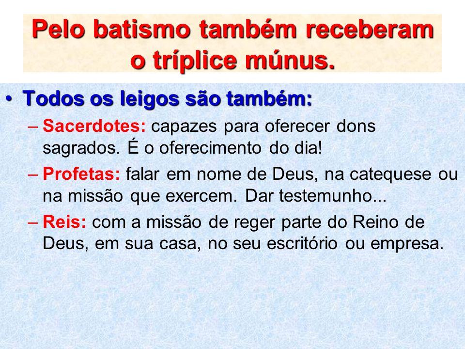 Pelo batismo também receberam o tríplice múnus.
