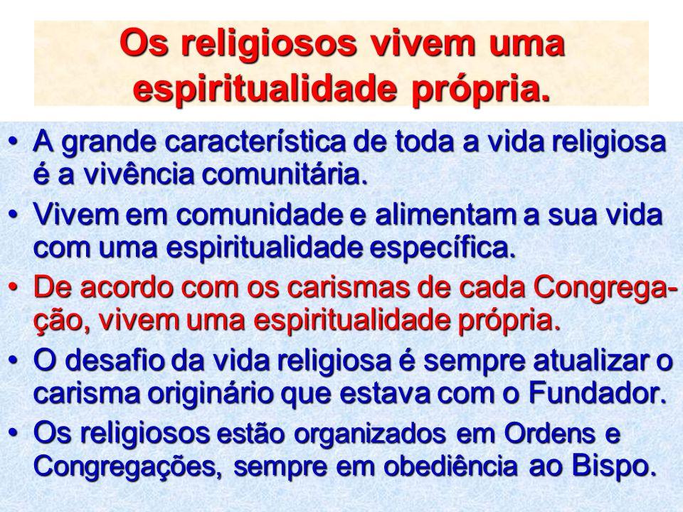 Os religiosos vivem uma espiritualidade própria.