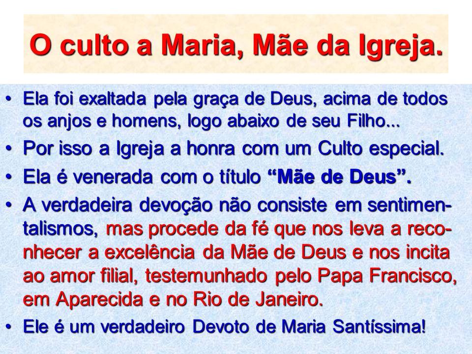 O culto a Maria, Mãe da Igreja.