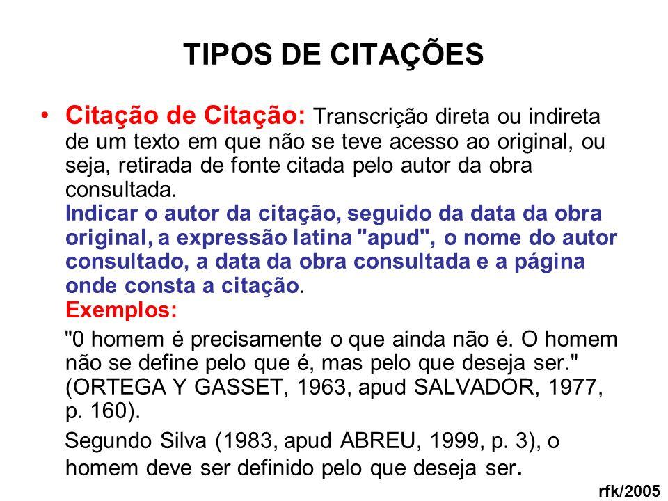 TIPOS DE CITAÇÕES