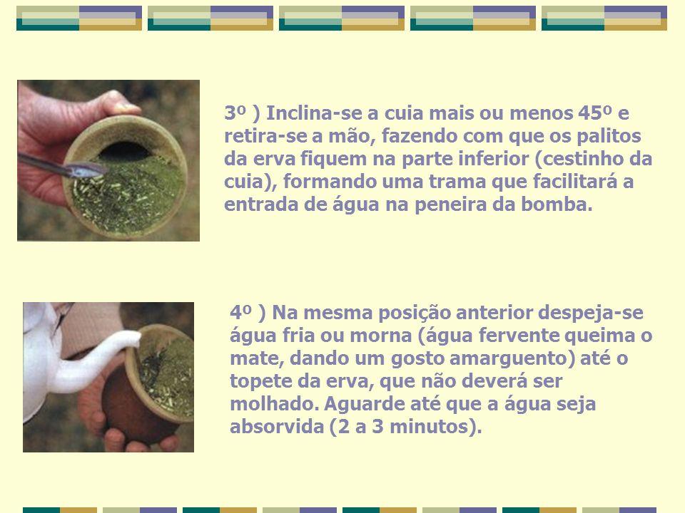 3º ) Inclina-se a cuia mais ou menos 45º e retira-se a mão, fazendo com que os palitos da erva fiquem na parte inferior (cestinho da cuia), formando uma trama que facilitará a entrada de água na peneira da bomba.
