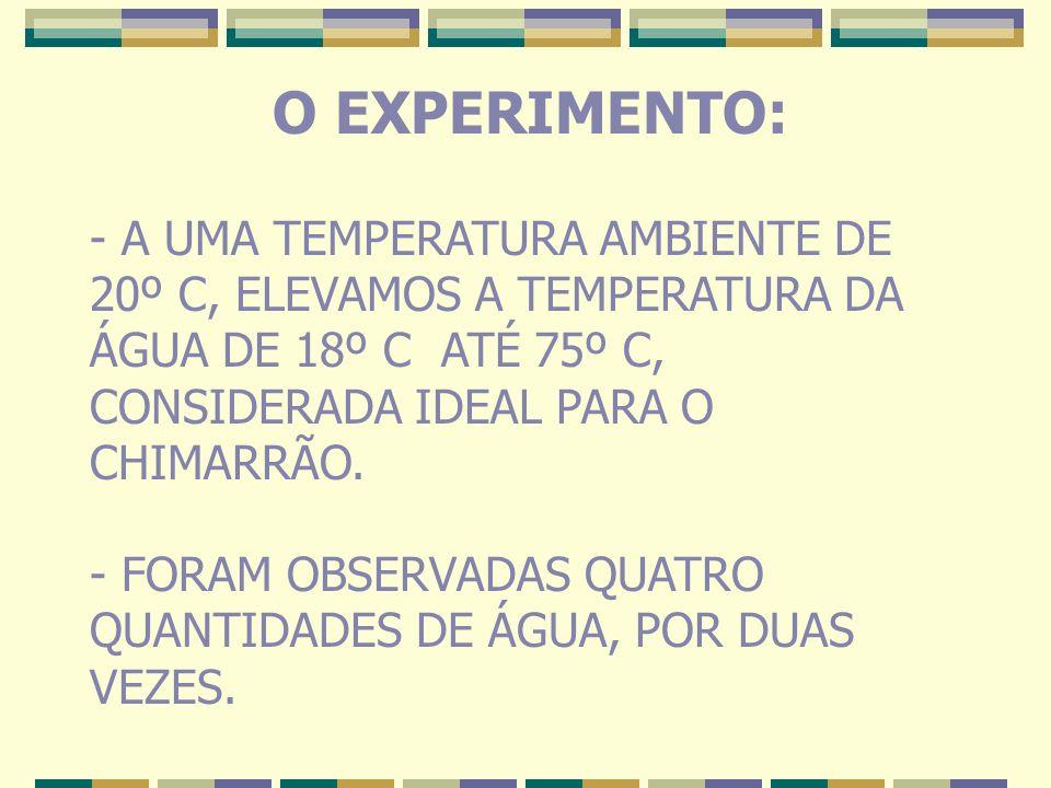 O EXPERIMENTO: A UMA TEMPERATURA AMBIENTE DE 20º C, ELEVAMOS A TEMPERATURA DA ÁGUA DE 18º C ATÉ 75º C, CONSIDERADA IDEAL PARA O CHIMARRÃO.