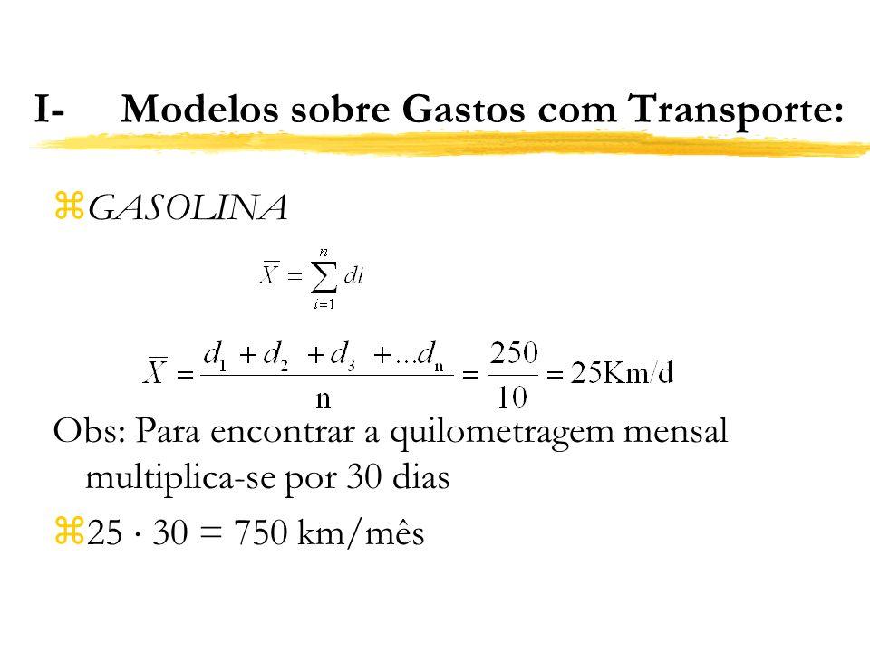 I- Modelos sobre Gastos com Transporte: