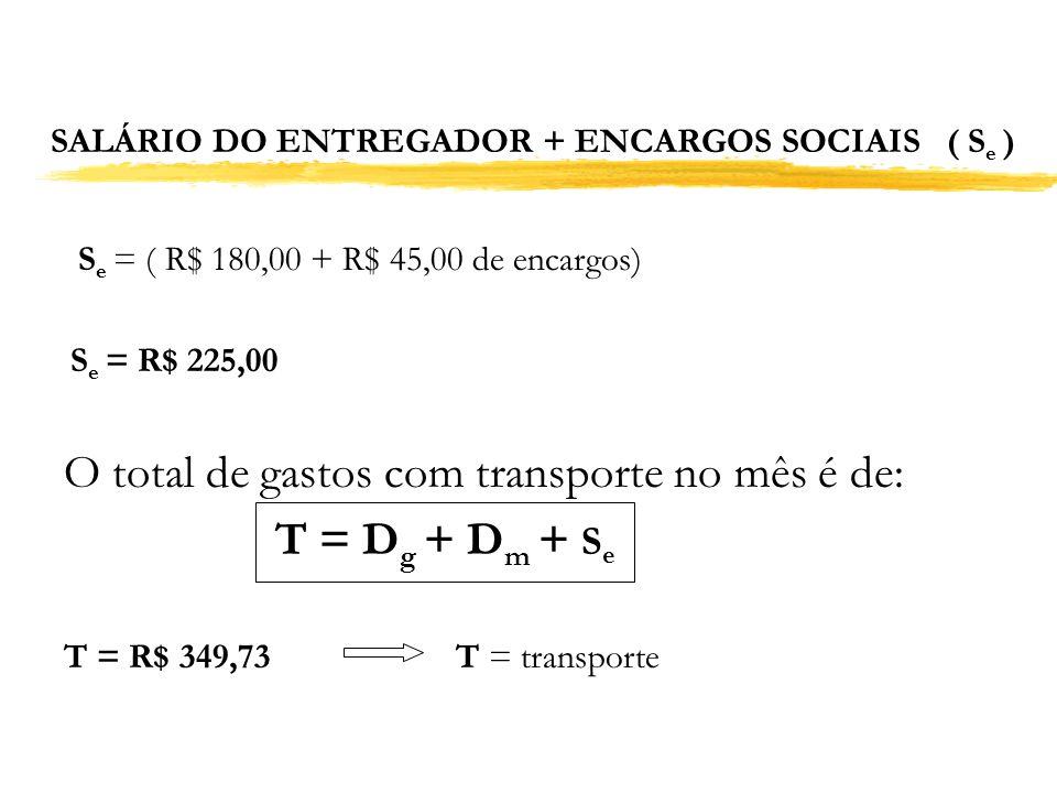SALÁRIO DO ENTREGADOR + ENCARGOS SOCIAIS ( Se )