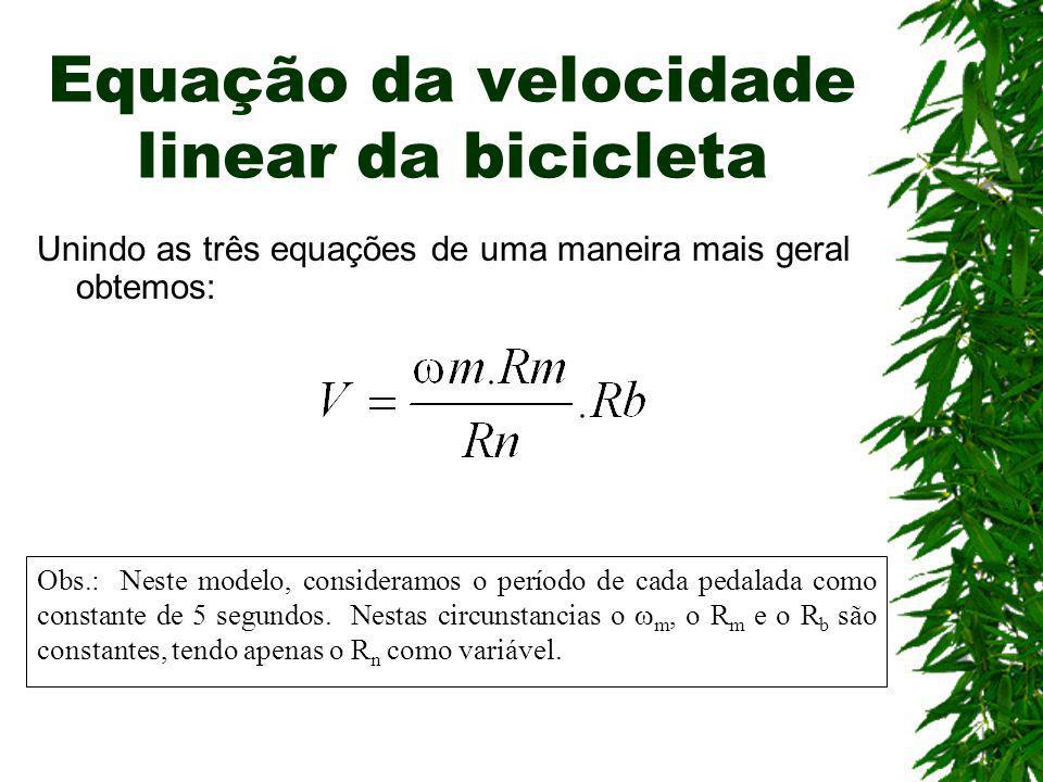 Equação da velocidade linear da bicicleta