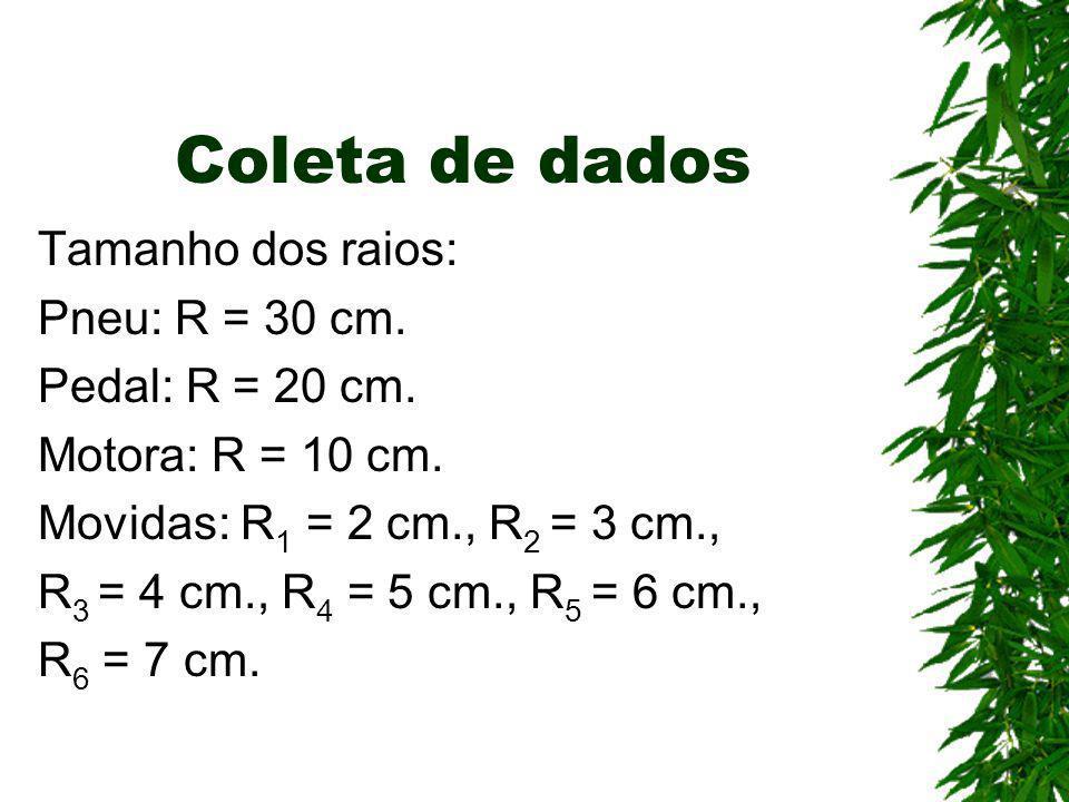 Coleta de dados Tamanho dos raios: Pneu: R = 30 cm. Pedal: R = 20 cm.