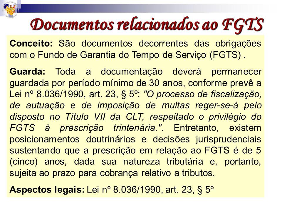 Documentos relacionados ao FGTS