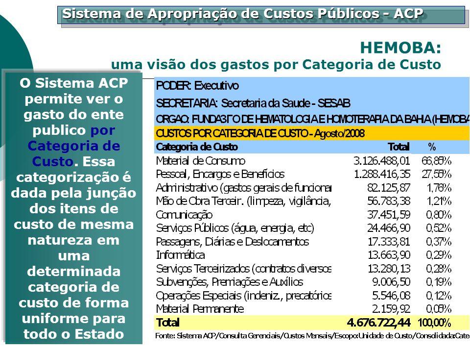 HEMOBA: uma visão dos gastos por Categoria de Custo