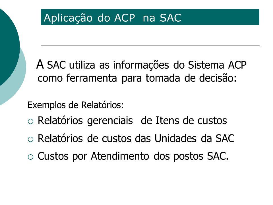 Aplicação do ACP na SAC A SAC utiliza as informações do Sistema ACP como ferramenta para tomada de decisão: