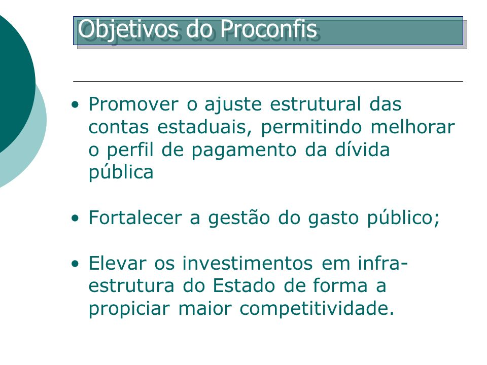 Objetivos do Proconfis