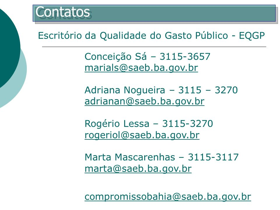 Contatos Escritório da Qualidade do Gasto Público - EQGP