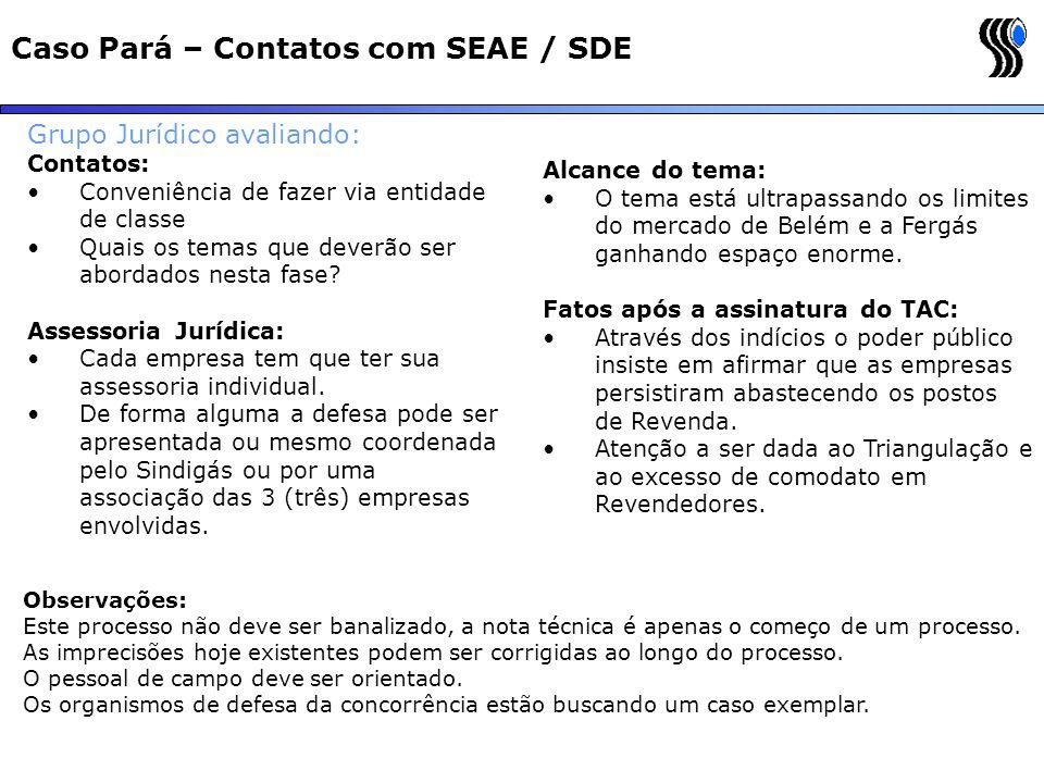 Caso Pará – Contatos com SEAE / SDE
