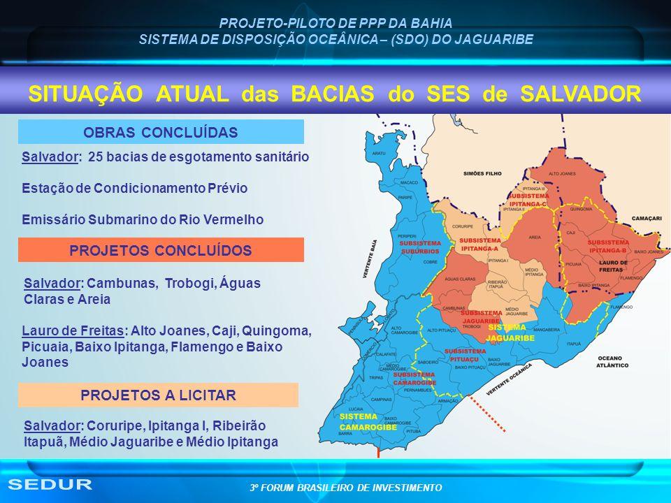 SEDUR SITUAÇÃO ATUAL das BACIAS do SES de SALVADOR OBRAS CONCLUÍDAS