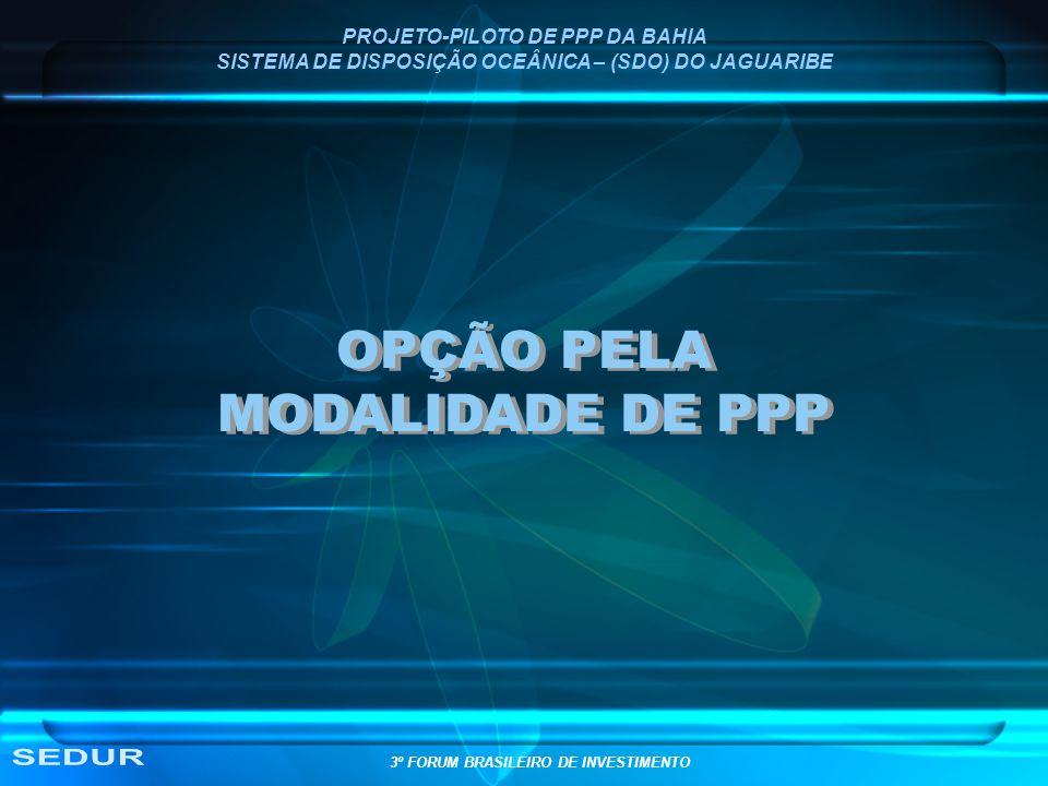 OPÇÃO PELA MODALIDADE DE PPP SEDUR PROJETO-PILOTO DE PPP DA BAHIA