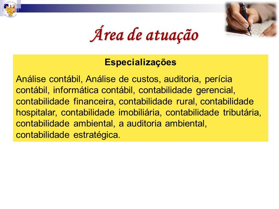 Área de atuação Especializações