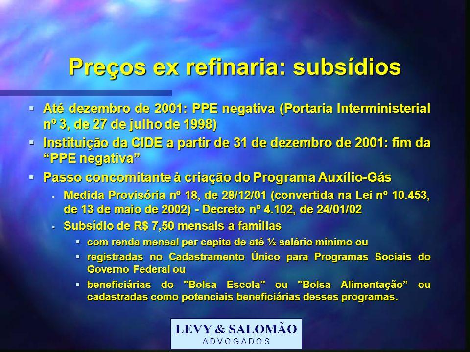 Preços ex refinaria: subsídios